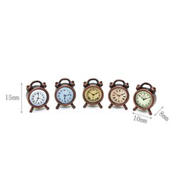 wooden dolls house accessories UK - 1:12 Scale Black Clocks Miniature Dollhouse Wall Clock Play Doll House Miniaturas Home Decor Accessories Toy for kids Cherryb
