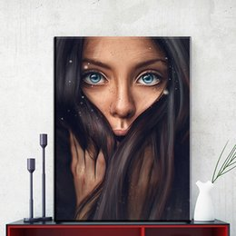 AbstrAct women figure online shopping - 1 Piece Fashion girl Large Wall Art Canvas Painting Modern Sexy Women Face Picture Abstract Figures Oil Painting For Home Decor No Framed