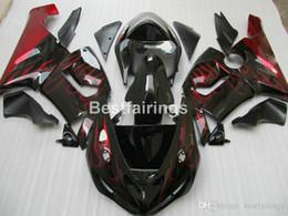 Red black kawasaki zx6R online shopping - Bodywork plastic fairings for Kawasaki Ninja ZX6R red flames black motorcycle fairing kit ZX R MS57