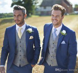 $enCountryForm.capitalKeyWord Australia - Hot Sale Blue Wedding Tuxedos Slim Fit Suits For Men Custom Jacket Vest And Pants Groom Suit Three Pieces Prom Formal Suits