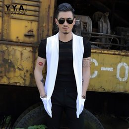 Wholesale New Japan Style Mens Casual Summer Sleeveless Medium Length Vests None Button Open Stitch Streetwear Male Waistcoats Plus Size