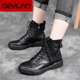 winter men riding boots Canada - Women Leather Booties Lace Up Winter Shoes Women black brown Genuine Leather Knight Boot Handmade Riding Shoe 2019 Low Heel