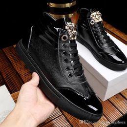 Metal Sneakers Australia - Men Shoes Ankle Boots Vers@ce Footwears Handmade Flats Mens Shoes Comfortable Waterproof Skate Shoes with Metal Logo High Top Sneaker Casual