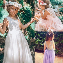 formal wedding gowns Australia - 3-8 Years Flower Lace Sleeveless Backless Back V Tulle Summer Dress Wedding Children Party Princess Bridesmaid Formal Gown