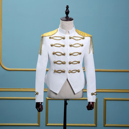 $enCountryForm.capitalKeyWord Australia - 18th Century White Long Sleeve European court Jacket Costumes Nightclub Performance Suits clothing For Men