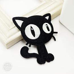 Gato negro (Tamaño: 7.7x9.6cm) Bricolaje Insignias de tela Arreglar Parche Jeans Bolsa Ropa Ropa Costura Decoración Apliques Parches