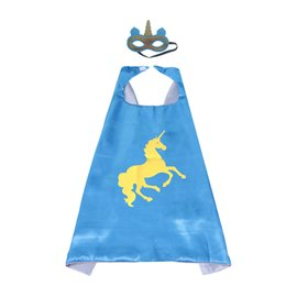 China 27inch Kids Superhero Unicorn Capes and Masks Double Layer for Girls Rainbow Birthday Party Favors (3 Pack) supplier double costumes suppliers
