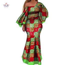 Plus Size Clothing Dresses UK - 2019 New african dresses for women bazin riche style femme african clothes graceful lady print wax plus size party dress WY4044