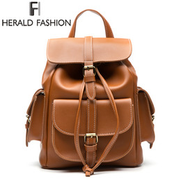 $enCountryForm.capitalKeyWord Australia - Herald Fashion Multi-Pocket Women Backpack High Quality PU Leather School Bags For Teenagers Girls Top-handle Travel Backpacks