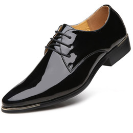 mens black patent formal shoes Australia - Size38-48 Derby Shoes Men Elegant Oxford Shoes for Nen Wedding Newly Top Quality Mens Black Dress Shoes Patent Leather Sepatu Formal Pria