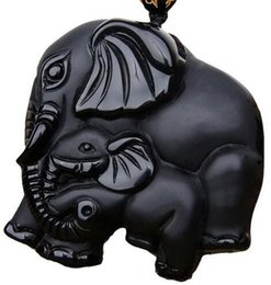 elephant carvings UK - drop ship work handmade Chinese Natural black obsidian carved mother baby cute elephant lucky pendant necklace amulet