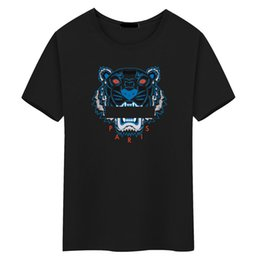 China Wholesale Tiger head T shirt Mens Tees Plus Size O-neck short Sleeve T-Shirt man Printed Cotton Tiger head T-shirt polos tees S-5XL cheap tiger print plus size shirt suppliers