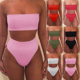 0ba5f0500263e 2019 Strapless Bikini Sexy bikinis women Set Off Shoulder Solid Bandage Push  Up Padded Swimwear Swimsuit Beachwear Pluz Size biquini