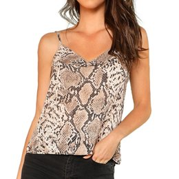 44aee833974a28 Fashion women cropped top blouse Women Sexy V-Neck Snake Skin Print Casual  Straps Crop Sling Camis crop top #B
