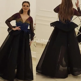 Black Arabic Illusion Bodice Prom Dresses 2019 Long Sleeve V Neck Peplum  Beads Long Formal Evening Party Gowns Special Occasion Dress 6ffa887cb