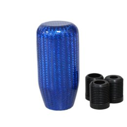 $enCountryForm.capitalKeyWord Australia - Blue Long Cylinder Carbon fiber Ball Shape Gear Shift Knob for AT MT Shifter Lever 3 Aadapters switching adapters Cool Funny Automobile