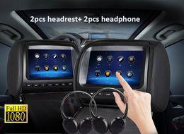 "Sd Dvd Player Australia - Black 2X Twin Car headrest DVD player 9"" FHD Touch Screen car dvd with FM USB SD Game Disc IR Headphones"
