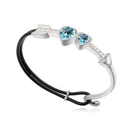 Genuine Swarovski Jewelry UK - Genuine Crystals from Swarovski Cuff Bracelet Luxury Bangle Bracelet For Women Silver Color Leather Bracelet Fashion Jewelry Christmas Gift