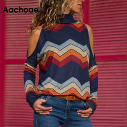 Wholesale cold jumper resale online - Women Blouses Sexy Cold Shoulder Tops Casual Turtleneck Knitted Top Jumper Pullover Print Long Sleeve Shirt Blusas Camisas Mujer