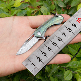 titanium mini tool NZ - wholesale mini Damascus folding Knife VG10 blade Titanium Handle outdoor Pocket knife Necklack Chain Survival EDC Tools Kitchen knife