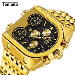 Big Watch Men Waterproof NZ - Top Brand Temeite Big Quartz Watches Men Military Waterproof Business Wristwatch Luxury Gold Steel Male Clock Relogio Masculino Y19052001