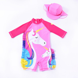 Girls bathinG suit kids swim online shopping - Girls unicorn Swimwear baby Bathing Suit One Pieces cartoon children Swimsuit baby Swim Wear Summer Kids Clothing Colors C6232