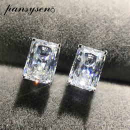 PANSYSEN 2ct Created Moissanite Diamond 925 Sterling Silver Stud Earrings Women Wedding Engagement Earring Jewelry Girl Gift on Sale