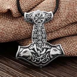 $enCountryForm.capitalKeyWord Australia - ewelry display case lighting LANGHONG 10pcs Norse Vikings Amulet PENDANT Goat Thor's Hammer Necklace Pendant Original Animal Knot Viking ...