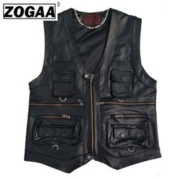 pockets photography vest Australia - Men Vest Leather Multi Pocket Vest Men Black Photography Genuine Motorcycle Biker Waistcoat Autumn Sleeveless Jacket for
