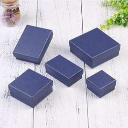 Wholesale Boxes Packaging Australia - 24pcs Square Paper Jewelry Packaging Box High Quality 8*5cm Navy Necklace Ring Earrings Bracelet Gift Box for Valentine's Day