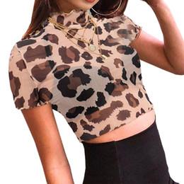 f304160936b27 Discount leopard crop tops - Summer Short Sleeve Mesh Tops Women  Transparent Leopard Print T Shirt