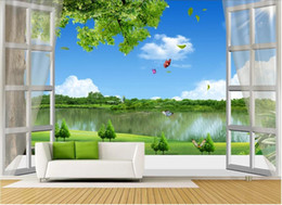 Wall stickers for kitchen WindoW online shopping - 3d wallpaper custom photo Mural background Modern minimalist d windows natural scenery tree lake wall sticker art canvas pictures