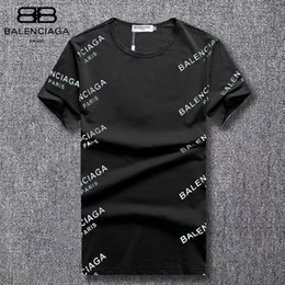 32b28768 2019 new hot men and women models summer two-color round neck full of  capital letters printing temperament couple short-sleeved T-shirt
