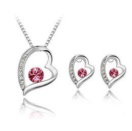 $enCountryForm.capitalKeyWord NZ - High Quality Elegant 925 Silver Plated Crystal love Sweet Heart Pendants Necklaces Stud Earrings Bridal Wedding Jewelry Sets For Women girls