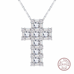Male cross chain online shopping - Brand Real Sterling Silver Pendant Necklace For Women a CZ Prong Setting Cross Shape Male Fine Jewelry