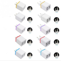 Wholesale 4 USB Ports Cell Phone USB Chargers Universal EU USA Plug V A AC Power Adapter Colors for mobile smartphone s s android s3 s4 s5 Gift