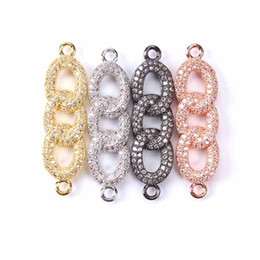 bail necklace connectors UK - Cheap Charms 1pc 9*33mm Micro pave CZ zircon Double Bails Connector Charm for women DIY Bracelet necklace Jewelry Making