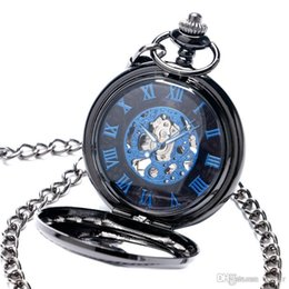 self winding pocket watch Canada - New Trendy Cool Black Peacock Hollow Case Blue Roman Number Skeleton Dial Steampunk Mechanical Pocket Watch Gift for Men Women