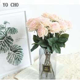 silk flowers vase decoration Australia - Artificial Silk Rose Flowers Pink Bouquet for Vases Home Decoration White Fake Flowers Wedding Party Decor Christmas Rose Branch T191024