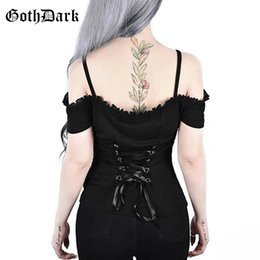 Formal Tops For Women NZ - Gothic Lace Up T-shirt Top Black Off Shoulder Ruffle Sling Clothes T-shirts For Women Short Sleeve Backless Slim Fit Sexy Top Y19051104