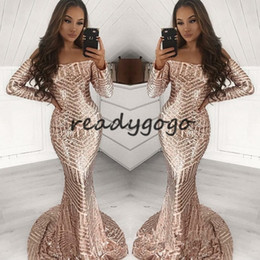 $enCountryForm.capitalKeyWord Australia - Gorgeous Long Sleeve Sequins Prom Dresses 2019 Sparkly Rose Gold Off Shoulder Sweep Train Mermaid Occasion Evening Wear Dress