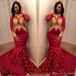Black White Rose Dress Red Australia - Stunning Red Prom Dresses 2019 Party Wear With Long Sleeves 3D Rose Flowers Lace Arabic Dubai Black Girl Pageant Dress Evening Gowns