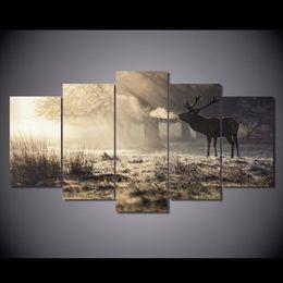 $enCountryForm.capitalKeyWord Australia - Winter Deer,5 Pieces Home Decor HD Printed Modern Art Painting on Canvas (Unframed Framed)