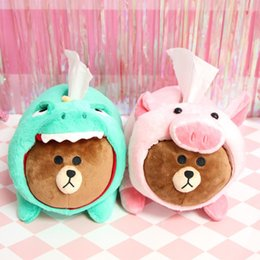 Cartoon ComiCs online shopping - Cute Brown Bear Turned Dinosaur Pig Cartoon Plush Paper Towel Set Car Tissue Box Plush Toys cm