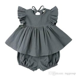 $enCountryForm.capitalKeyWord Australia - Summer INS Toddler Baby Girsl Suits 2pieces Set Ruffles Short Sleeve Dresses + Bloomers Linen Organic Cotton Kids Girls Clothing Suits 0-2T