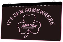 neon shamrock sign NZ - LS1305 0 It s 5 Pm Somewhere Shamrock Jameson RGB Multiple Color Remote Control 3D Engraving LED Neon Light Sign Shop Bar Pub Club