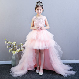 father christmas suits Canada - Flower child princess skirt girl Pengpeng yarn children walk show wedding dress tuxedo evening dress host piano performance suit