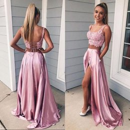 Discount navy pocket squares - Cute Rose Pink Two Pieces Prom Dresses Evening Gowns High Split Satin With Pockets Lace Square Neck Straps Backless Part