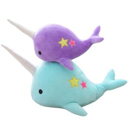 stuffed plush tiger NZ - Cartoon Narwhal Shape Stuffed Soft Plush Doll Toy for Kids Lovers Decoration