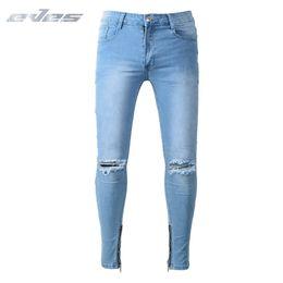 bb3703be8 EVES Sky Blue Men Stretch Jeans Hombre 28 -38 Masculina Adolescente Moda  Casual Hombre Pantalones Slim Comfort pantalones de algodón